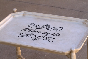 A tray table painted with chalk paint and stenciled.  www.lifeatthecottage.com