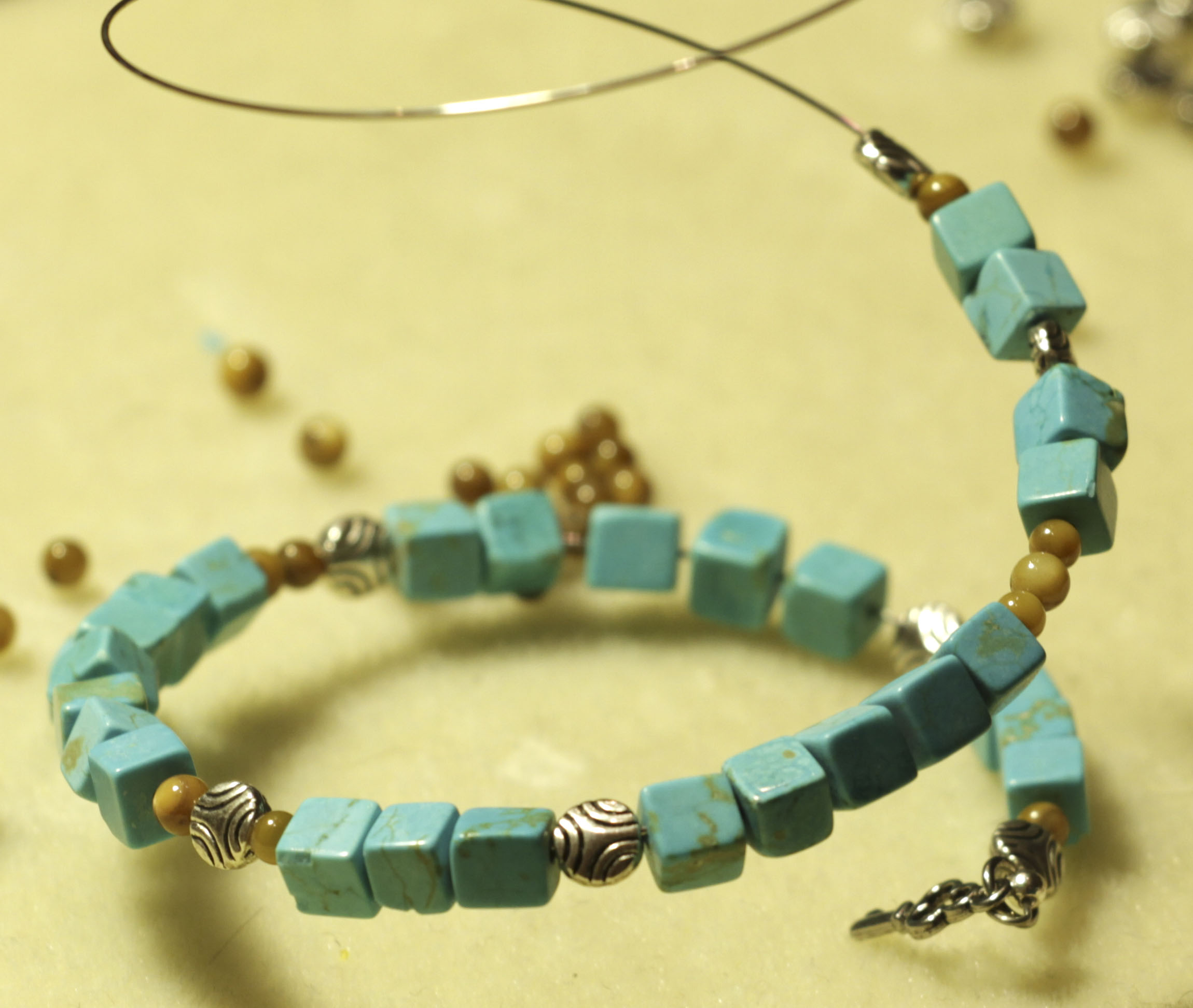 turquoise bracelet tutorial at the cottage