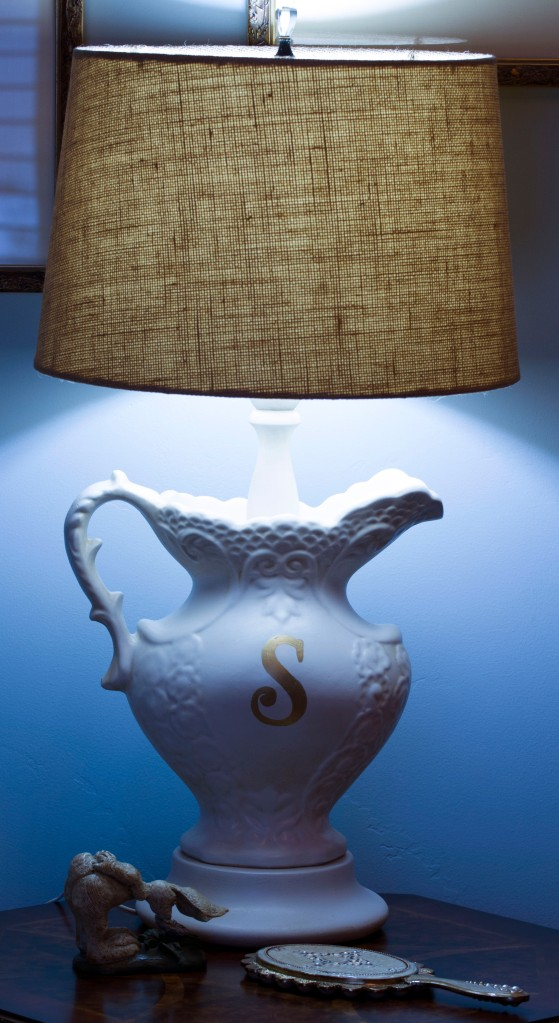 A thrift store lamp painted and given a makeover. www.lifeatthecottage.com