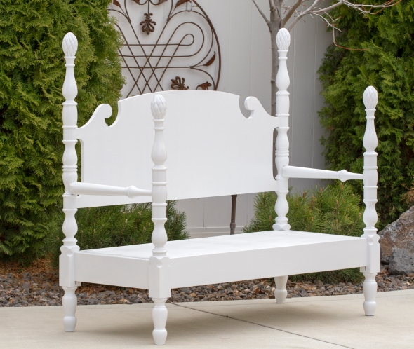 An old bed frame re-purposed into a bench www.lifeatthecottage.com