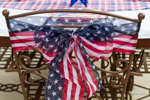 Ribbon tied on Chairs www.lifeatthecottage.com