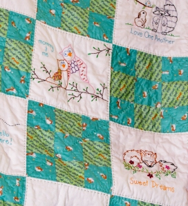 A woodland themed baby quilt www.lifeatthecottage.com